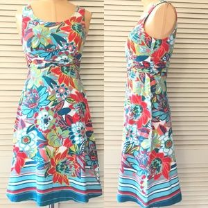 Floral Sleeveless Dress XS Empire Flare